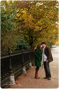 love the green coat for a fall engagement session! Photo by Sweet Monday Photography www.sweetmondayphotography.com