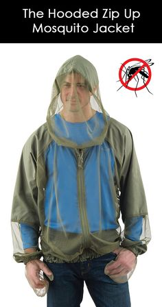 This is the hooded, lightweight jacket made from fine 1.2-mm netting that zips-up in front to shield the skin from mosquitoes without the use of harmful and malodorous chemicals. Only available from Hammacher Schlemmer and worn over regular clothing, the jacket protects against insect-borne illnesses such as  Zika and West Nile virus, as well as the discomfort of itchy welts.