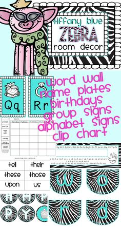 Tiffany Blue and Zebra Classroom Decor Editable $  100+ Pages