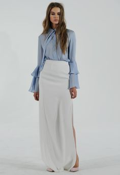 Blue Ruffled Sleeve Blouse with White Skirt   Houghton Bride Fall/Winter 2015   Blog.theknot.com