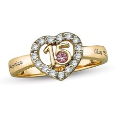 Birthstone and Cubic Zirconia Heart Frame Engravable Quinceañera Ring by ArtCarved® Stone and 2 Lines) Genuine Emerald Rings, Emerald Ring Gold, Rose Gold Morganite Ring, Emerald Jewelry, Filigree Engagement Ring, Heart Shaped Rings, Celtic Rings, Heart Frame, Cute Jewelry