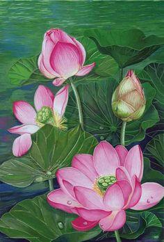 Water Lilies Painting, Lotus Painting, Painting & Drawing, Mago Tattoo, Watercolor Flowers, Watercolor Paintings, Kerala Mural Painting, Pichwai Paintings, Lotus Art