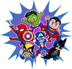 Chibi Heroes by *Real-Warner on deviantART - Visit to grab an amazing super hero shirt now on sale! Baby Avengers, Baby Marvel, Avengers Birthday, Superhero Birthday Party, Marvel Avengers, Batman Party, Marvel Heroes, Boy Birthday, Birthday Parties