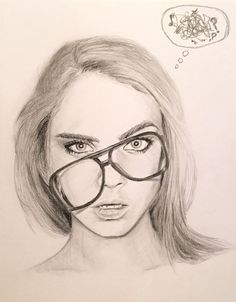 Cara Delevingne Glasses Graphite and Charcoal Pencil Portrait Sketch by Mina Fordyce