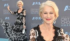 Helen Mirren dons a low-cut floral gown at Critics' Choice Awards