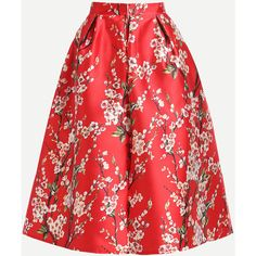 SheIn(sheinside) Red Cherry Blossom Print Box Pleated Skirt (35 CAD) ❤ liked on Polyvore featuring skirts, knee high skirts, floral pleated skirt, red pleated skirt, red floral skirt and red skirts