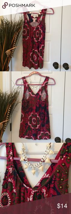 CANDIE'S Flowy Tank EUC! Worn 1 time! Looks like new! Size M. Gorgeous vibrant colors: maroon, navy, green, white. Candie's Tops Tank Tops