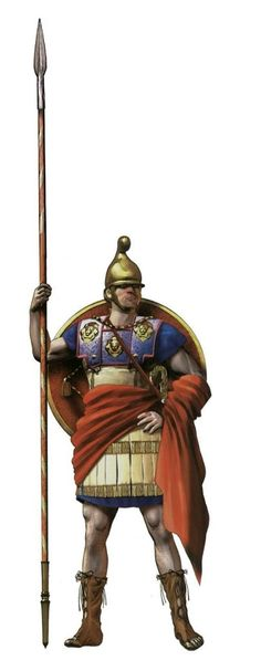 Macedonian phalanx hoplite carrying the sarissa
