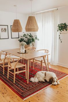 Get inspired by these dining room decor ideas! From dining room furniture ideas, dining room lighting inspirations and the best dining room decor inspirations, you'll find everything here! Bungalow Dining Room, Dining Rooms, Rug Under Dining Table, Dining Set, Dining Tables, Light Oak Dining Table, Warm Dining Room, Bungalow Decor, Oak Table