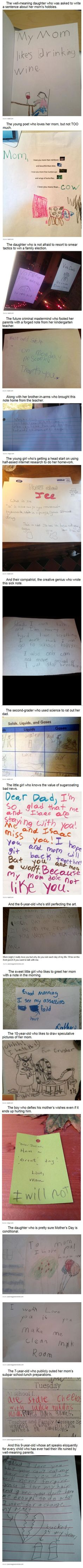 "Kids Who Sold Out Their Parents (17 pics). This reminds me of my then 6 year old (now 24) that wrote me a note saying, ""Mom, I stood up all knight  thinking about how 2 irratate you to day"" I still have the note!"