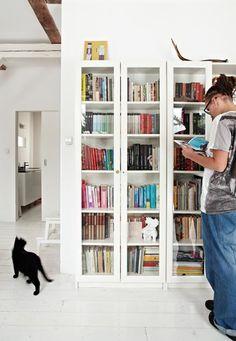 book storage - multiple skinny shelves
