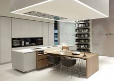 Varenna kitchen design line handleless fronts wooden counter cooking island,