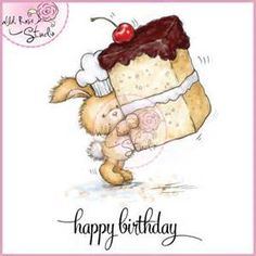 Wild Rose Studio Clear Stamp - Bunny with Cake