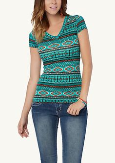 image of Southwestern Stripe Deep-V Tee rue 21. I don't know why but I like it, even though its not my traditional style.