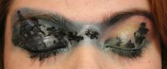 Disney's Peter Pan inspired eye makeup. All done in eyeshadow and a liquid eye liner by hand