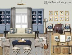 A soft blue and gray family room. Design board and complete design by @darlene weir @ Fieldstone Hill Design #interiordesign #edesign #interiors #livewithbeauty