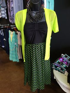 Cute new pull on dress- looks adorable with out lime crop cardi over it! Vogue Boutique- Freeport,IL