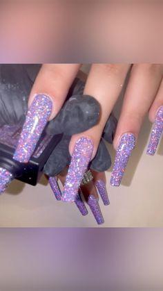Sparkle Acrylic Nails, Purple Glitter Nails, Long Acrylic Nails, Nude Nails, Acrylic Toes, Acrylics, Purple Nail Designs, Cute Acrylic Nail Designs, Frozen Nails