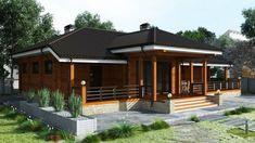 Дом из бруса (бревна, клееного бруса) под ключ в стиле шале с одним этажом Проект «Дом 209»