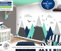 Eco-Friendly, Originally designed Super Large Mountain Wall Decal! You are in the right place to choose the wall art for your space! Create a complete look of your room with this customizable wall decal. ╔═══════════════╗ = DECAL INFORMATION = ╚═══════════════╝ ✔ Large Mountains wall