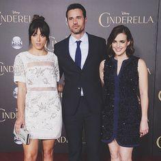 At SHIELD they teach us how to pose dramatically. || Chloe Bennet, Brett Dalton, Elizabeth Henstridge || Cinderella Premiere