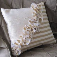 Soft Furnishings – silkworm and cottontails. Beautiful striped silk organza and … Soft Furnishings – silkworm and cottontails. Beautiful striped silk organza and dupion Bow Pillows, Ruffle Pillow, Flower Pillow, Sewing Pillows, Throw Cushions, Cushion Covers, Pillow Covers, Sewing Crafts, Sewing Projects