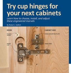 Woodcraft Magazine - Projects, Techniques and Products Kitchen Door Hinges, Hinges For Cabinets, Kitchen Cabinets In Bathroom, Built In Cabinets, Kitchen Furniture, Steel Furniture, Diy Furniture, Custom Cabinet Doors, Cabinet Door Styles