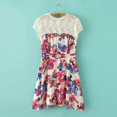 QZ1877 New Fashion Ladies' Elegant sweet floral print lace spliced Dress vintage O neck short sleeve casual slim brand dress