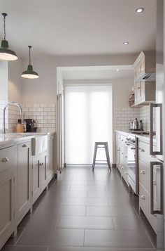 Galley Kitchen Ideas for a Contemporary Kitchen with a Galley Kitchen and the Hither Green Shaker Kitchen by deVOL by deVOL Kitchens Grey Flooring, Kitchen Flooring, Kitchen Backsplash, Kitchen Cabinets, Kitchen Sink, Backsplash Ideas, Tile Ideas, Kitchen Pantry, Kitchen Countertops