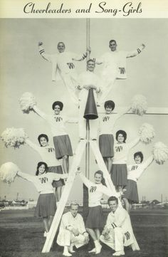 Cheerleaders and Song-Girls in the 1962 yearbook of Westchester high school in Los Angeles, California.  #Westchester #yearbook #1962