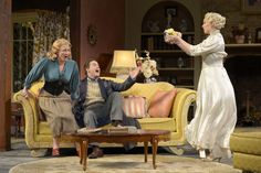 René Augesen as Ruth Condomine, Anthony Fusco as Charles Condomine, and Jessica Kitchens as Elvira Condomine in Cal Shakes' production of BLITHE SPIRIT (2012), directed by Mark Rucker; photo by Kevin Berne.