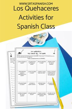 Are you looking for chores activities for your Spanish classes? Check out these activities for practicing los quehaceres in Spanish class! Grab a download for your novice middle school or high school Spanish classes. Reading, writing, listening & speaking activities are all included in this blog post to help you teach los quehaceres or chores in Spanish! Homework, reading a story, and great ideas for lesson plans as you teach clothing in Spanish to your secondary students! Spanish Classroom, Teaching Spanish, Middle School Spanish, Spanish Lesson Plans, Grammar Skills, Spanish 1, Comprehension Questions, Homework, Textbook