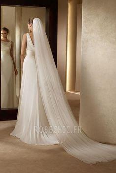 Robe de mariée 2014 Milieu Sans Manches Tribunal train Avec voile