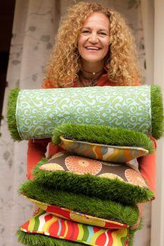 Pillows trimmed in synthetic grass by Alicia Blas #InteriorDecorInspiration #Pillows