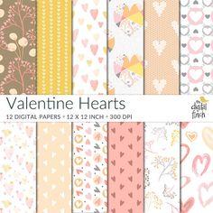 Valentine Hearts Digital Papers  scrapbooking paper  instant