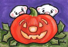 Original ACEO Painting Halloween Pumpkin Ferrets Shelly Mundel #FerretArt
