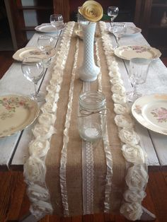 Burlap table runner. Facebook at The Vintage Party Box!!