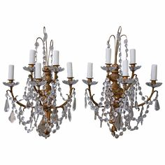 19th Century French Crystal Sconces | From a unique collection of antique and modern wall lights and sconces at https://www.1stdibs.com/furniture/lighting/sconces-wall-lights/