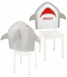 personalized shark chair cover 4th Birthday Parties, 7th Birthday, Birthday Ideas, Shark Room, Hello Kitty, Shark Party, Baby Shark, Chair Covers, Crafts For Kids