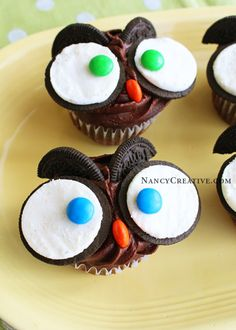 Owl Cupcakes. I'd like to try it with vanilla cupcakes and white cupcakes too!