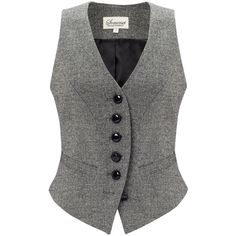 Somerset by Alice Temperley Donegal Tweed Waistcoat, Grey ($75) ❤ liked on Polyvore featuring outerwear, vests, tops, jackets, shirts, grey waistcoat, v neck vest, waistcoat vest, grey vest and tweed waistcoat