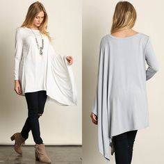 """Diorama"" Long Sleeve Draped Side Top Half long sleeve half draped top. An absolutely must have, fun piece! Available in black, ivory, jade and silver. This listing is for the IVORY. Brand new. Loose fit. S (2-6), M (8-10), L (12-14). NO TRADES DON'T ASK. Bare Anthology Tops Tees - Long Sleeve"
