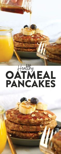 These banana oatmeal pancakes are the perfect weekend breakfast. They're dairy-free, gluten-free, and naturally sweetened with a mashed banana for a deliciously healthy, easy breakfast that you can make any time you're craving a stack! Pancake Healthy, Yummy Pancake Recipe, Pancake Recipes, Flour Recipes, Healthy Foods, Gluten Free Pancakes, Banana Pancakes, Breakfast Pancakes, Free Breakfast
