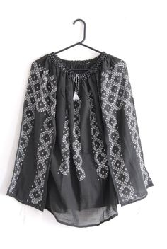 Romanian traditional black blouse with white embroidery via Etsy