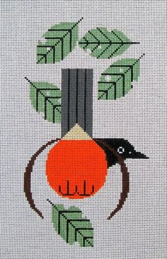 Charley Harper Needlepoint Robin (In Stock)