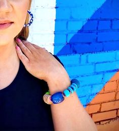 The Baubler Bracelet is an epic statement of arm candy! Created with in funky design pattern of texture and a multitude of colorful gemstones. Funky Design, Coconut Shell, Acrylic Beads, Gemstone Colors, Statement Jewelry, Bold Colors, Pattern Design, Turquoise, Gemstones