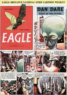 Dan Dare from Eagle Comic 1970s Childhood, Childhood Memories, Science Fiction Art, Pulp Fiction, Comic Art, Comic Books, Children's Comics, Classic Comics, Retro Futurism
