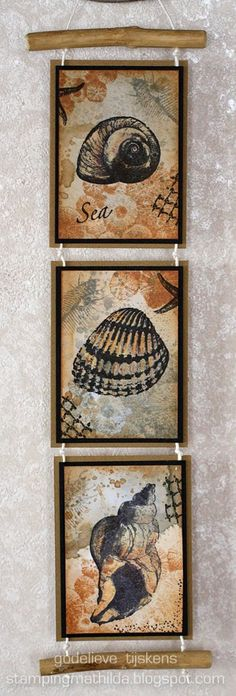 """Wall hanging made with new Art Journey stamps. I stamped 3 ATCs and connected them with twine. The """"driftwood"""" at the top and bottom are c..."""