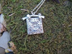 Fine Silver Square Hanger Pendant – Petals and Paisley