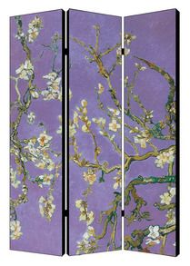 """Van Gogh - Almond Blossom Chinese room divider.  48"""" wide x 71"""" tall x 1"""" deep"""